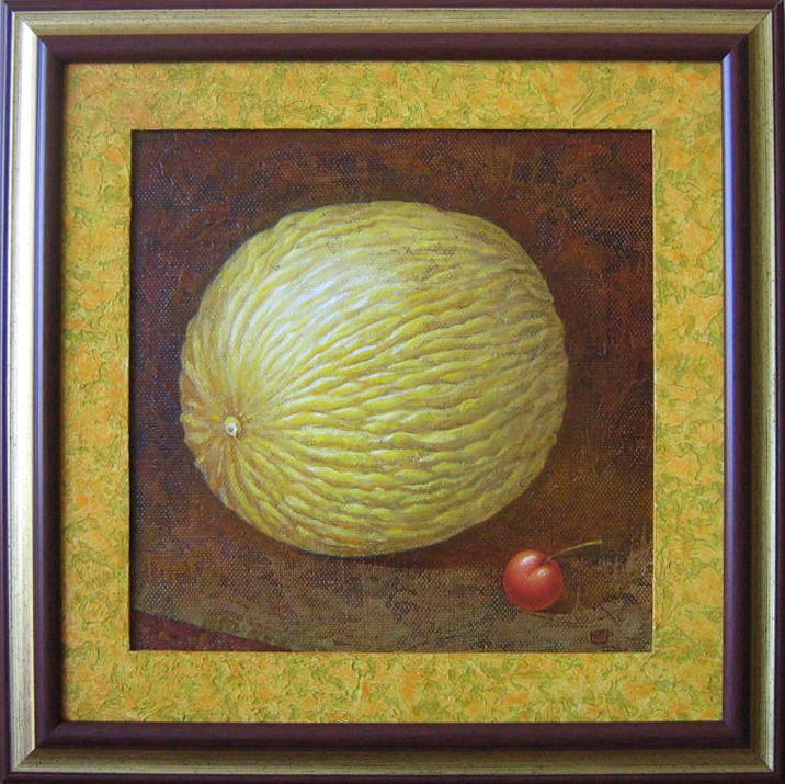 Mellon. 40x40 Cm. Oil on canvas, special texture.