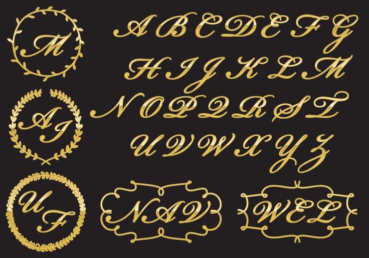 Misschien moet je frisse ideeën voor uw nieuwe logo, download dit vector-bestand met een sjabloon en gouden letters om uw persoonlijke monogram te creëren.