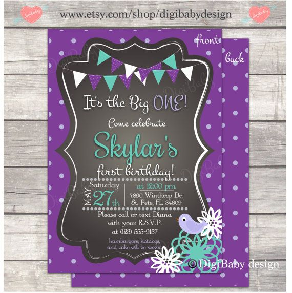 Best Lillians First Birthday Images On Pinterest Year - 1st birthday invitations girl purple
