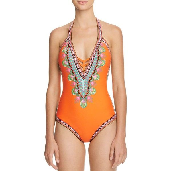 Trina Turk Dashiki Plunge One Piece Swimsuit ($155) ❤ liked on Polyvore featuring swimwear, one-piece swimsuits, orange, halter bathing suit tops, one piece swimsuit, orange one piece bathing suit, plunge one piece swimsuits and orange swimsuit