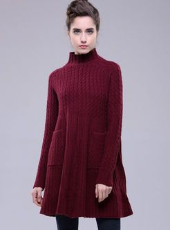 Loose Long Pocket Patch Pure Color Sweater