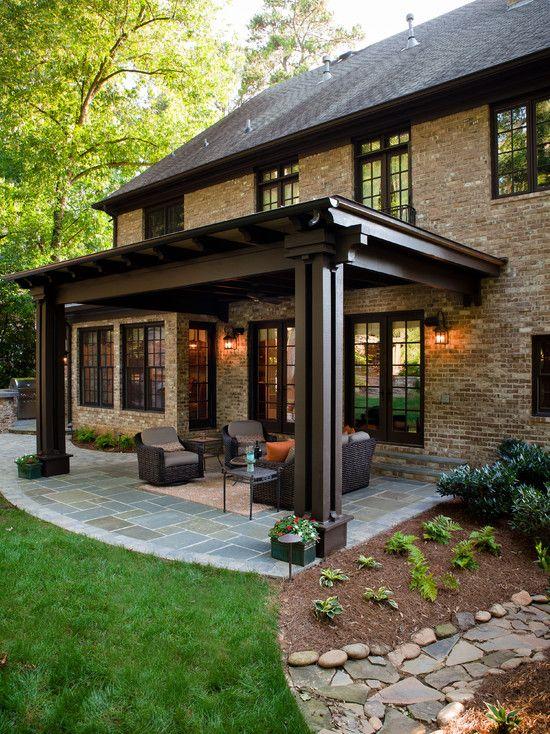 Veranda Design, Elegant Brown Traditional Covered Patio