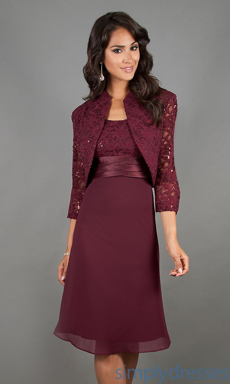 Knee Length Mother of the Bride Dress with Jacket- Simply Dresses