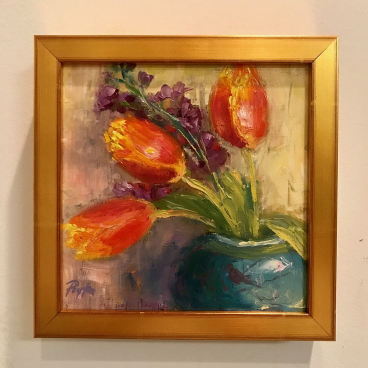 Tulip painting, 8x8, oil on board, floral painting