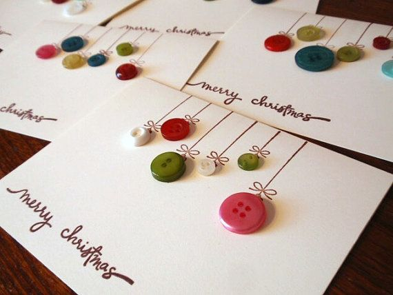 Merry Christmas ornament notecards  set of six by RationalDesigns, $10.25. OR make it yourself. Plain notecards, some buttons, a steady head and a felt-tipped pen. #DIY #cards #paper #christmas