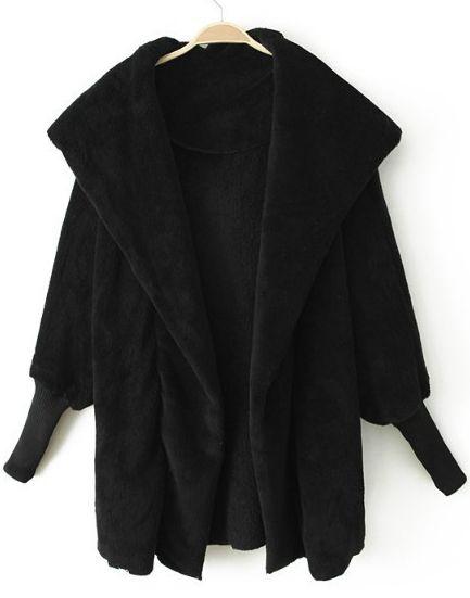 Black Lapel Long Sleeve Cape Coat US$34.10