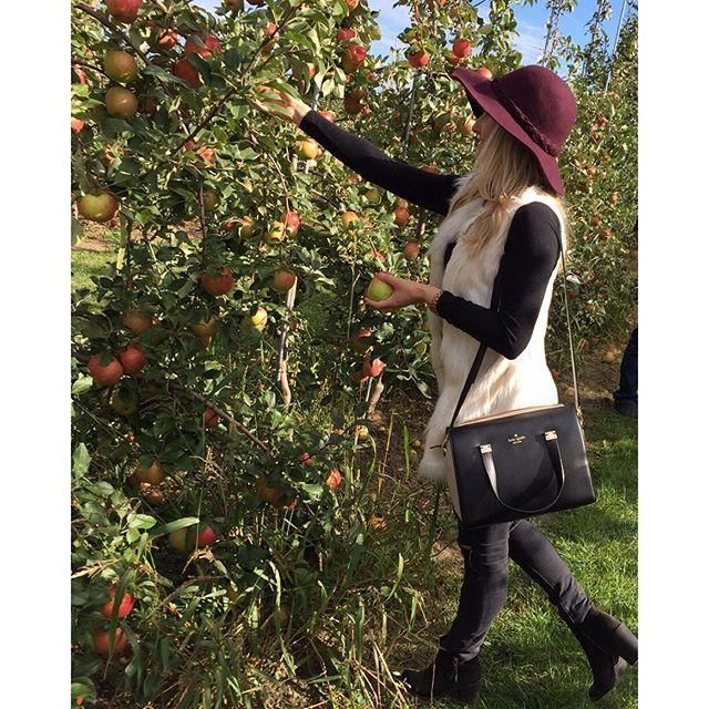 Outfit for fall apple picking.