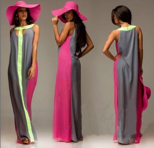 Hosszú színes maxi ruha szürke/pink/sárga