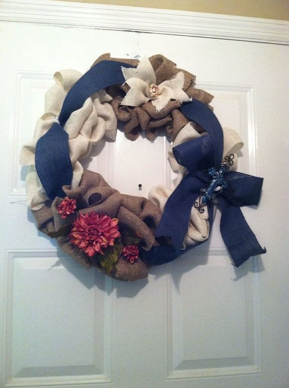 Burlap Wreath with Cross Springtime by ElsiesCreativeDesign