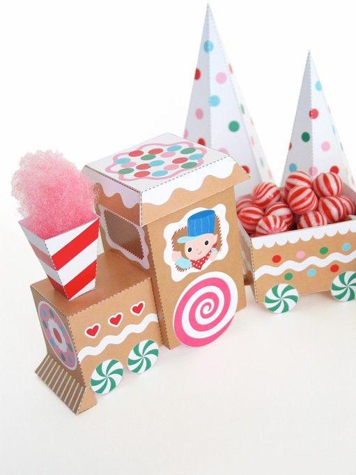 Gingerbread train printable paper craft