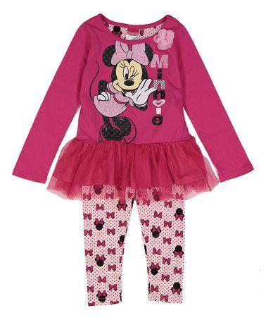 Look at this #zulilyfind! Minnie Mouse Pink Tutu Dress & Leggings Set - Toddler #zulilyfinds