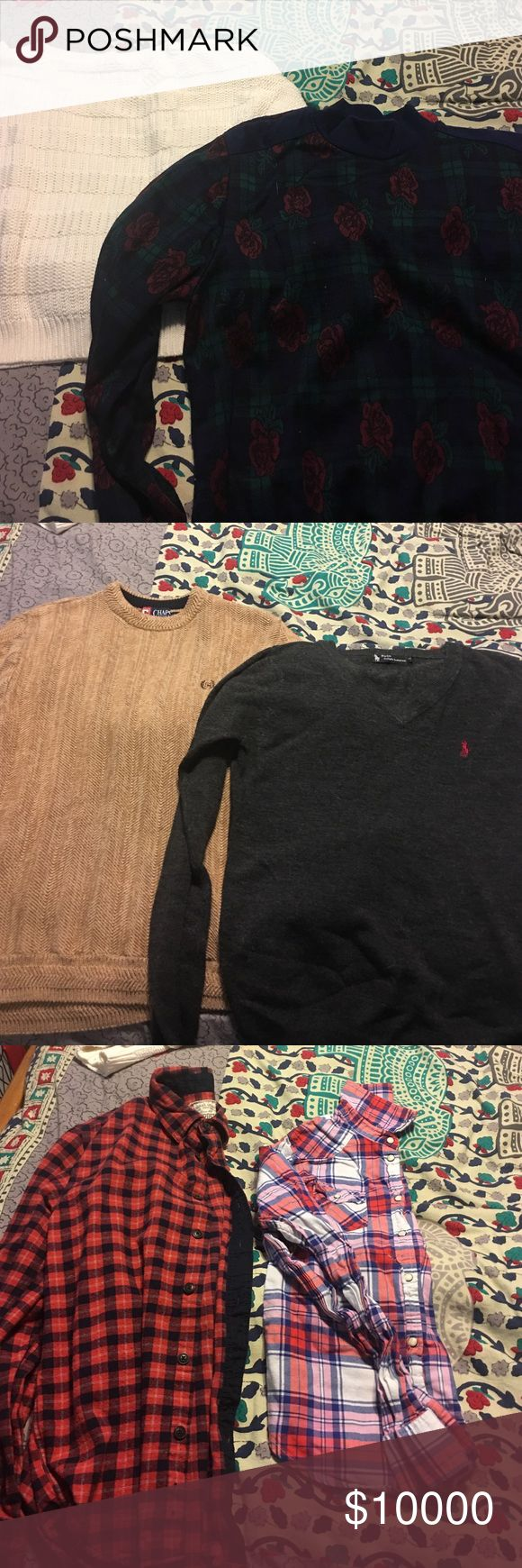 Not for sale Cream sweater: brand Caslon SP • Rose Sweater: Medium brand unknown • Tan Chaps Sweater: Men's small (one of my favs) • Polo Sweater: size Small (not sure if men's or women's but fits like a boyfriend tee • Red flannel: Aeropostale men's size Small • Pink Flannel: AE size Small • Blue flannel: Levi's women size Small • Black flannel: Men's small Sweaters V-Necks