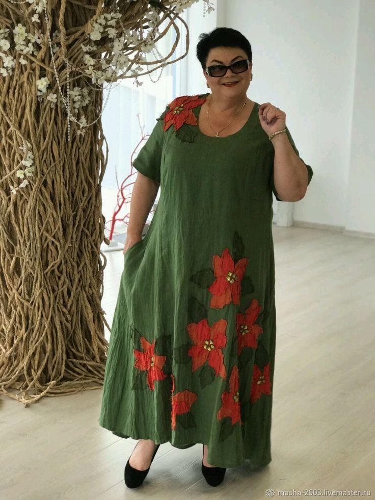 Купить Платье льняное - платье, большие размеры, Платье нарядное, платье летнее, большой размер, для полных
