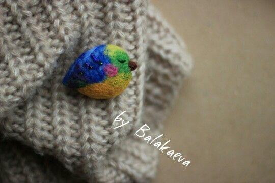 Птичка из шерсти, wool bird, birds, bird, птица, птицы, feltingwool, woolart, валяние, сухое валяние, брошь, брошь своими руками