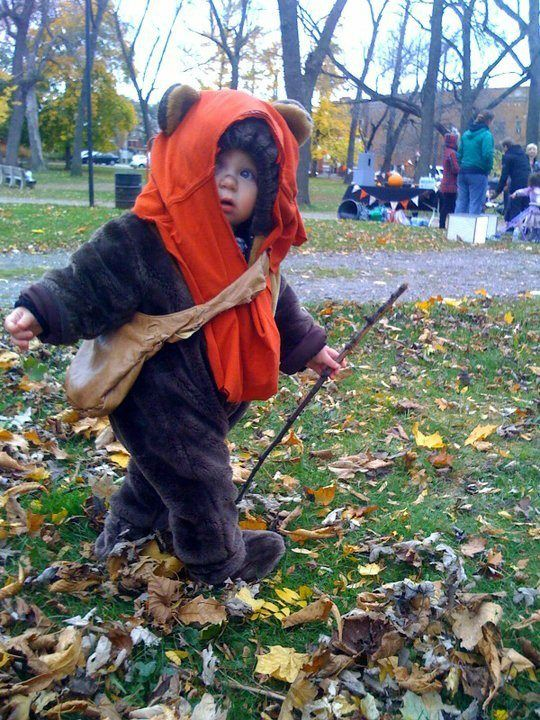 Ewok baby! I'm totally dressing my kids like this. :)