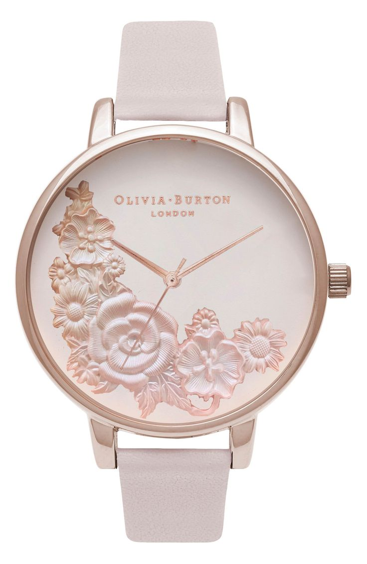 Olivia Burton Begin to Blush Leather Strap Watch, 38mm