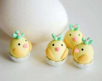 Miniature polymer clay, Miniature figurine, Polymer clay animal, Clay bird, Clay figurine, Small chicks, Easter gift