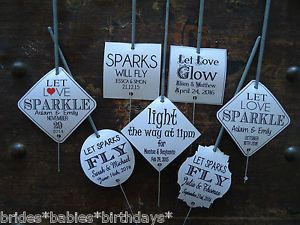 Kraft-White-Wedding-Favour-Gift-Tags-Sparklers-Bomboniere-PERSONALISED-Vintage