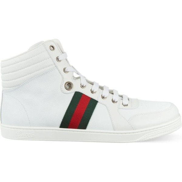 GUCCI Coda leather trainers ($525) ❤ liked on Polyvore featuring men's fashion, men's shoes, men's sneakers, white, gucci mens shoes, mens white leather shoes, gucci mens sneakers, mens white shoes and mens leather shoes