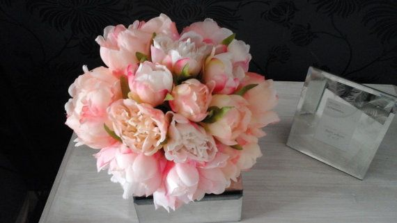 pink bouquet blush pink bouquet silk bouquet by izzabellasflowers