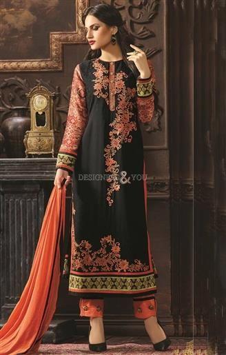Lovable Black Digital Print Georgette Aline Shalwar Kameez  #PakistaniStyle #SalwarStyle #PakistaniSuits #DesignerSuits #PakistaniDesigns #SalwarKameez #PakistaniModels #PakistaniFashions #Gorgeous #Embroidered
