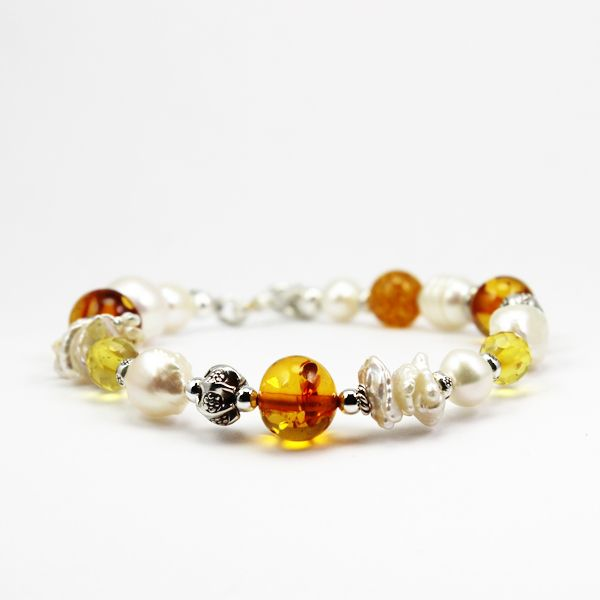 Amber and freshwater pearls with artisan silver !