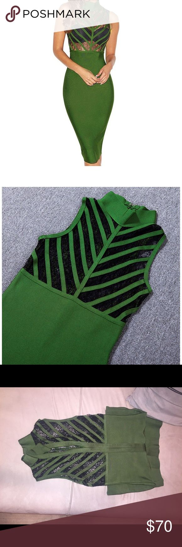 Green Bandage dress with lace Like new Only worn once. Green Bandage dress with lace.  Length is right on the knee just like pictured in my listing. Please note this is not Herve leger or BCBG it's a regular bandage dress Herve Leger/BCBG Bandage Dresses Mini