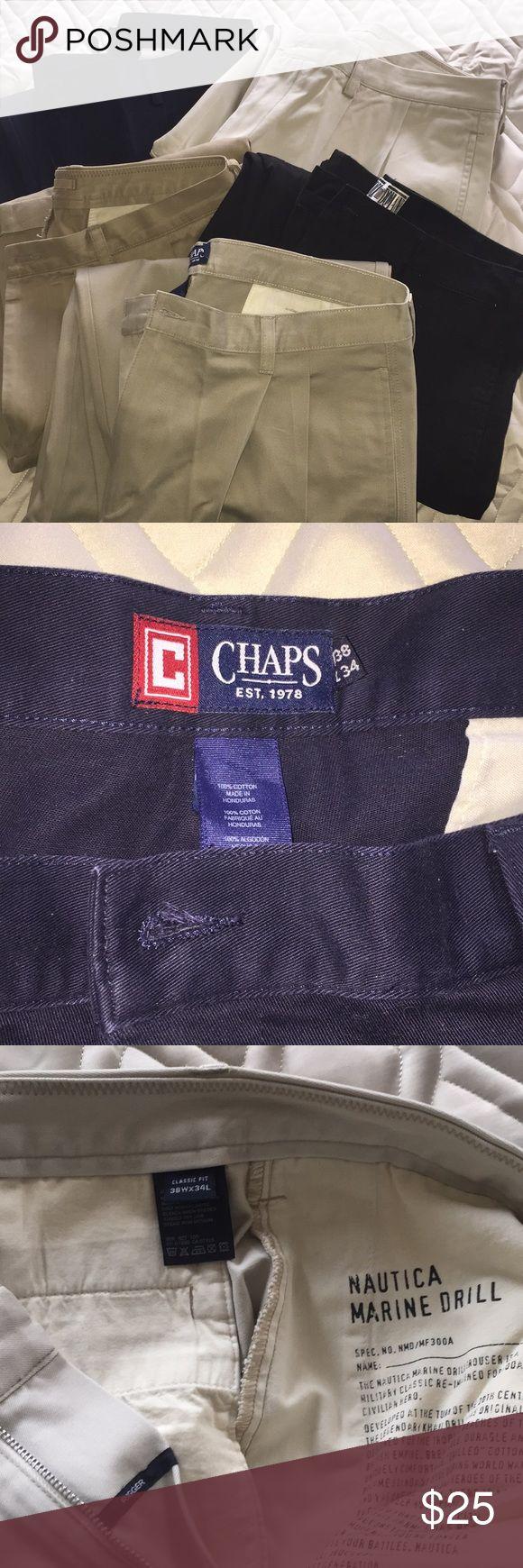 Men's Khakis Bundle 5 pair.  All size 38Wx34L.  Like new condition.  1 navy, 1 black, 1 khaki, 2 light khaki.  2 Nautica brand, 2 Chaps brand, 1 Eddie Domani brand.  All have cuffed bottom. Chaps Pants Chinos & Khakis