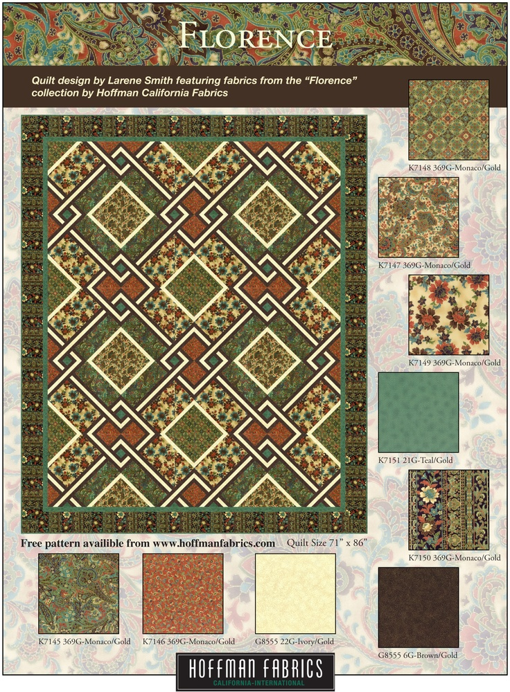 Free Quilt Pattern Using The Florence Collection By