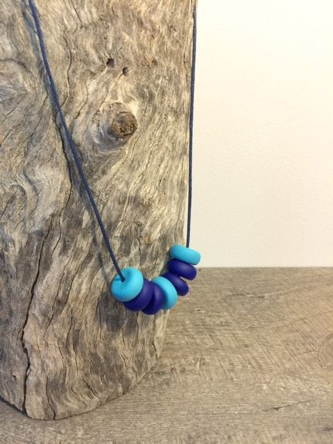 Necklace - Blue Lagoon - Polymer Clay