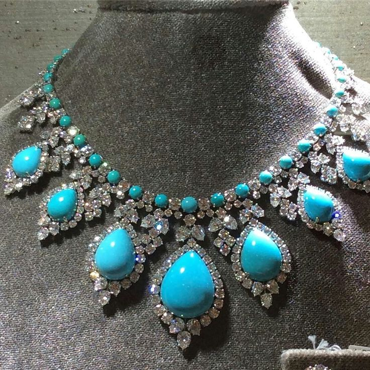 Turquoise as the oldest stone in the history of man and stone of protection. Enjoy this amazing turquoise and diamonds necklace