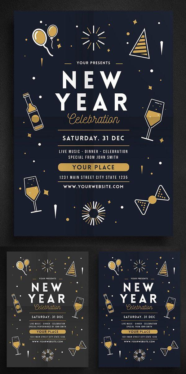 Creative New Year 2019 Christmas Flyer Templates Party Design Poster Christmas Flyer New Year S Eve Flyer