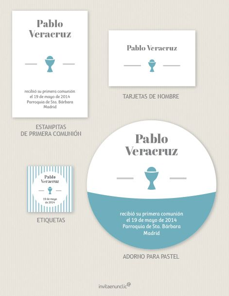 Los imprimibles son gratis y editables. Cada colección incluye estampitas de recordatorio, adorno para el pastel, etiquetas para peladillas y tarjetas para nombres.   Printables are free and editable. Each collection includes First Communion reminders, cake circle, treat circle labels, and place cards.    http://www.invitaenunclic.com/es/imprimibles-para-fiestas/ceremonias-religiosas