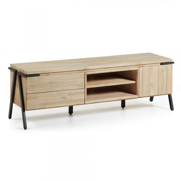 Disset TV Unit 165cm (€945) ❤ liked on Polyvore featuring home, furniture, storage & shelves, entertainment units, tv units, wooden furniture, wood media cabinet and wood furniture