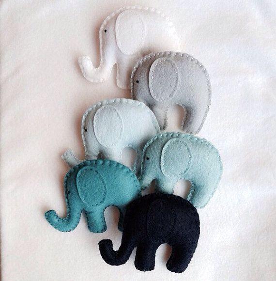 Ombré blues and teals Elephant garland. Nursery by memeandsaysay