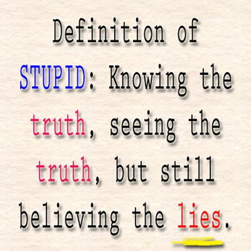 Definition of stupid : Knowing the truth, seeing the truth, but still believing the lies.