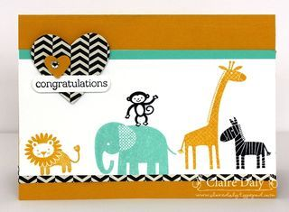 Hand made baby card in Coastal Cabana and Crushed curry with chevron. Stampin' Up Zoo Babies #animalcards, #babycards, #stampinup
