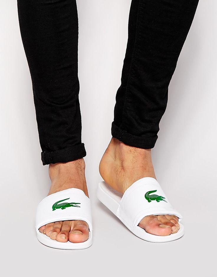 Lacoste Fraisier Croc Slider Flip Flops - White białe męskie klapki na lato 2016