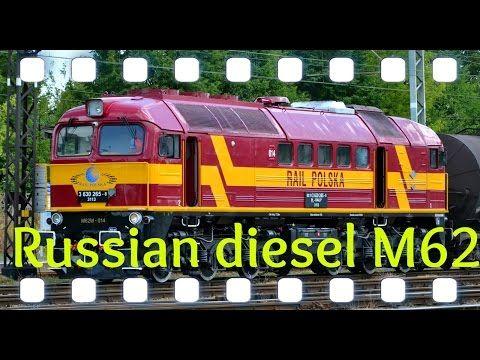 Russian diesel locomotive M62 with heavy tanker - YouTube