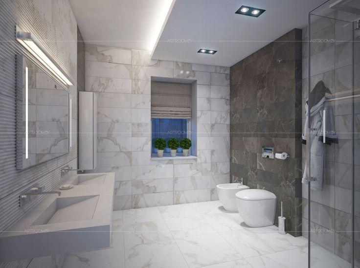 Интерьер коттеджа в современном стиле под Новополоцком. Модная ванная.