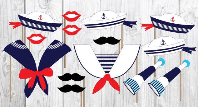 Jūrinė foto atributika - kepurė, ūsai ant pagaliuko Nautical photo props