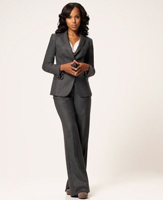 TV Fashion * Show: Scandal * Actress: Kerry Washington * Character: Olivia Pope * Suit: Armani * Shoes: Chloe