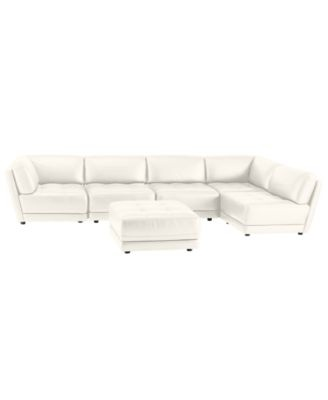 Vice Versa 6-Piece Modular Tufted Leather Sectional