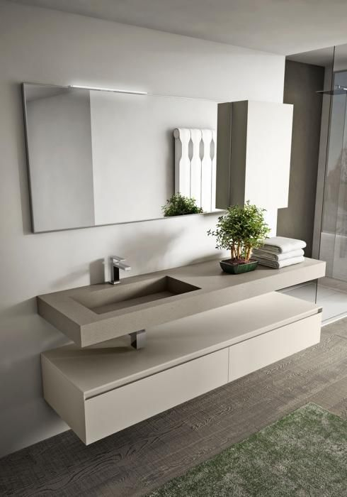 Modern design bathroom furniture: multi-level, seamless.