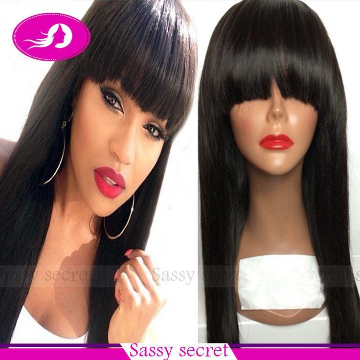 Aliexpress.com: Acheter 2015 droite soyeuse synthétique résistant à la chaleur cheveux synthétiques dentelle devant perruque avec une frange entière cheveux de bébé pour les femmes noires de perruque accessoires fiable fournisseurs sur Vogue Queen 6A Virgin Hair Procducts Co,Ltd