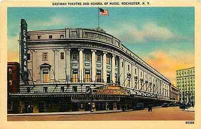 Rochester New York 1930 Eastman Theater School of Music Vintage Linen Postcard