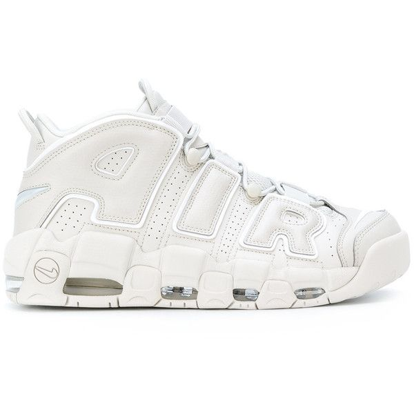 Nike Air More Uptempo OG sneakers ($345) ❤ liked on Polyvore featuring men's fashion, men's shoes, men's sneakers, white, mens leather shoes, low heel mens dress shoes, mens white sneakers, mens leather lace up shoes and nike mens shoes