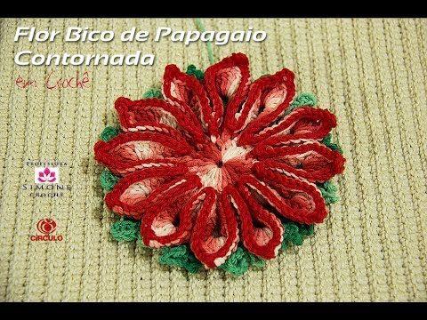 Flor Bico de Papagaio Contornada em crochê - Professora Simone - YouTube