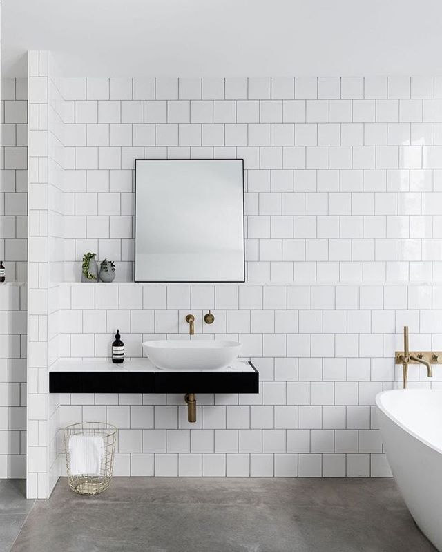Leveson House bathroom by Melbourne based architectural firm @ha_arc  loving these square subway tiles   @blachford built by D & A Pulitano Builders
