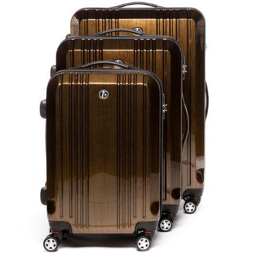 FERGÉ Dreier #Kofferset CANNES - 3 Trolley-#Hartschalenkoffer mit 4 Rollen - #Trolley-Koffer bronze-metallic